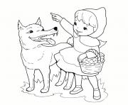 Coloriage loup chaperon rouge
