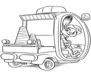 zootopie judith en voiture de police dessin à colorier