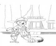 zootopie une equipe de choc police dessin à colorier