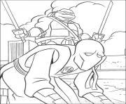 tortue ninja avec ennemi dessin à colorier