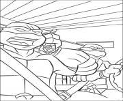 tortue ninja au telephone et voiture dessin à colorier