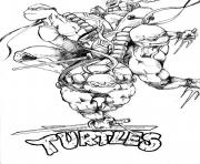 Coloriage tortue ninja team logo