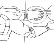 Coloriage tortue ninja avec une fille dessin