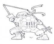 tortue ninja nouveau outils de combat dessin à colorier