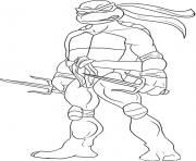 Coloriage tortue ninja visage face dessin
