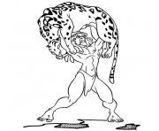 tarzan est fort tigre dessin à colorier