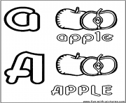 apple pomme alphabet dessin à colorier