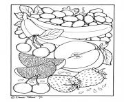 Coloriage portrait de fruits