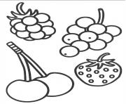 Coloriage 4 petits fruits