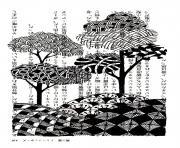 dessin style chinois arbres encre de chine dessin à colorier