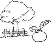 Coloriage arbre et tulipes dessin