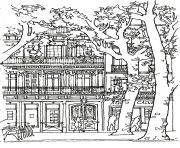 architecture maison arbre dessin à colorier