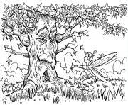 Coloriage Tigrou dans un arbre dessin