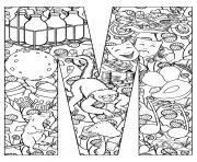colroiage adulte singe et souris dessin à colorier