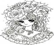 Coloriage coloring adult back to childhood manga girl flowers