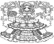 Coloriage adult back to childhood manga girl dress