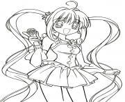 fille manga 4 dessin à colorier