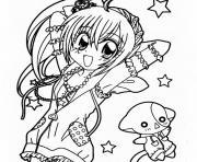 fille manga 3 dessin à colorier