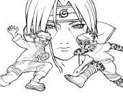 manga naruto trois personnages dessin à colorier