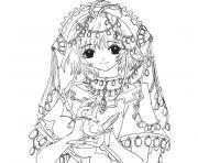 fille manga 34 dessin à colorier