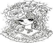 adulte retour enfance fille manga fleurs dessin à colorier