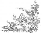 adulte difficile papillons dessin à colorier