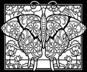 Coloriage adulte difficile papillon fond noir
