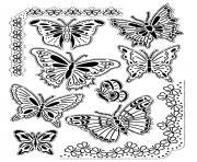 adulte difficile papillons vintage dessin à colorier