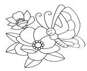 papillon et fleur dessin à colorier