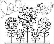 fleurs et papillons dessin à colorier