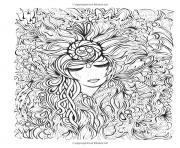 visage et fleurs dessin à colorier