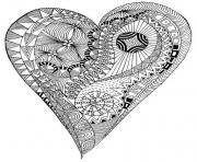 Coloriage adulte coeur zen anti stress heart