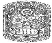 adulte tete de mort dessin à colorier