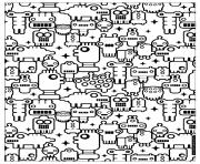 adulte zen anti stress a imprimer petits robots dessin à colorier