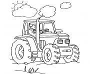 ferme et tracteur dessin à colorier