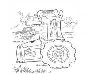 Coloriage tracteur simple enfant dessin