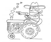 tracteur avec fourche dessin à colorier