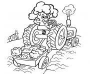 tracteur et remorque dessin à colorier