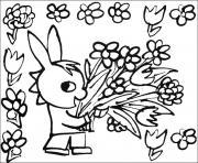 trotro avec un bouquet de fleurs roses dessin à colorier