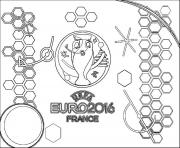 euro 2016 france logo championnat de football dessin à colorier