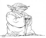 Coloriage yoda star wars tres calme