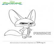 finnick de zootopie disney dessin à colorier