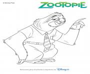 flash le paresseux de zootopie disney dessin à colorier