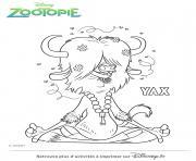 yax couleurs de zootopie dessin à colorier