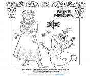 Coloriage anna olaf reine des neiges disney frozen