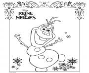 Coloriage olaf la reine des neiges disney frozen