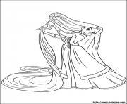 raiponce se brosse les cheveux disney dessin à colorier