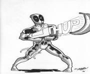 deadpool avec fusil dessin à colorier