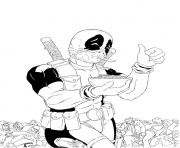 Coloriage deadpool mange les cereales