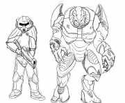 Coloriage brotherhood of steel et elites de halo par zonalar